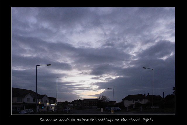 Street lights need adjusting - Seaford - 20.3.2016