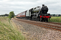Stanier LMS class 6P Jubilee 45627 SIERRA LEONE(45699 GALATEA) at Norton Park Crossing with 1Z24 07.40 Carnforth - Scarborough The Scarborough Spa Express 15th July 2021.(steam from York)