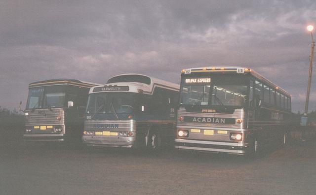 Acadian Lines 114, 90 and 115 at Yarmouth (Nova Scotia) - 11 Sep 1992 (Ref 177-21)