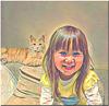 la petite et son chat