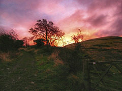 Sunrise behind Ling Fell, Lake District