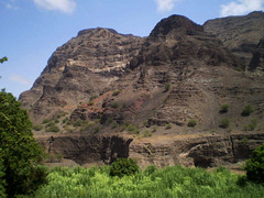 Mountains beyond the canyon.