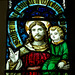 Detail of stained glass, Twyford Church, Derbyshire
