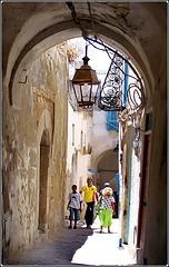 Tunisi : la Medina : i vicoli stretti e le case collegate una all'altra