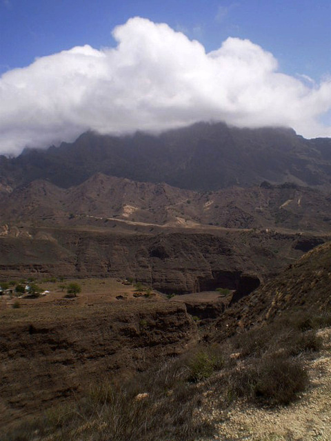 Canyon and mountains.