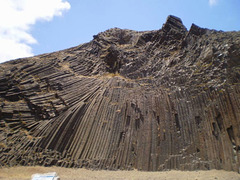 Prismatic volcanic formations.