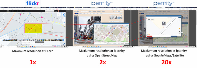 Comparison of the map precision of ipernity with Flickr