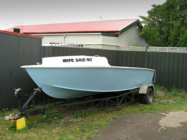 "My wife said ""No!"" - Boat at Dunedin street"