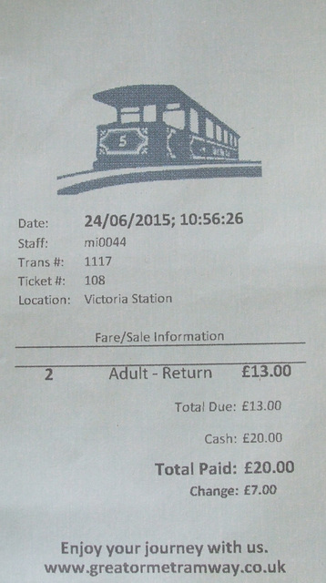 DSCF0811 Great Orme Tramway receipt (aka ticket)