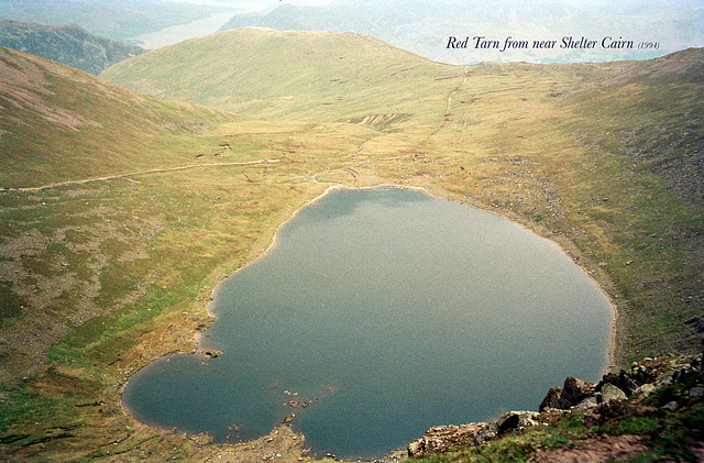 Red Tarn from near Shelter Cairn (Scan from June 1994)