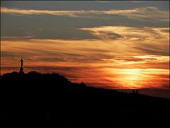 au coucher du soleil,