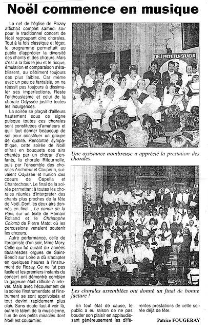 Concert de Noël à l'église de Rozay-en-Brie le 19/12/1998