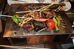 Barbecue a table