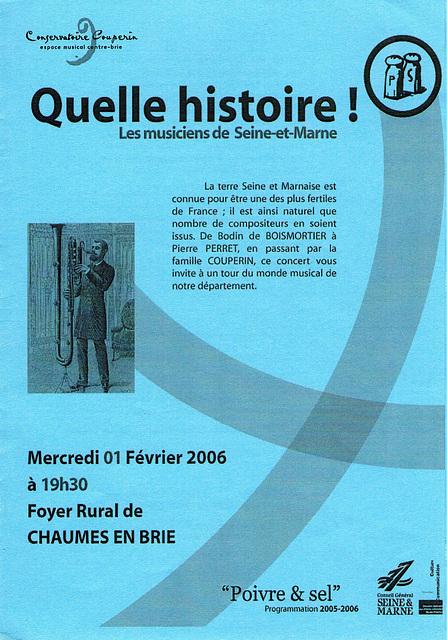 Concert à Chaumes-en-Brie le 01/02/2006