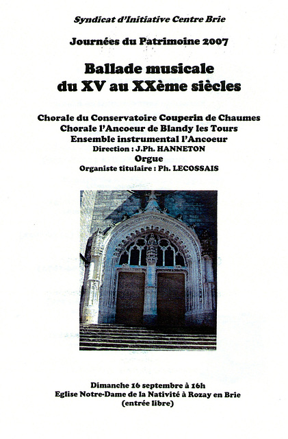 Concert à Rozay-en-Brie le 16/09/2007
