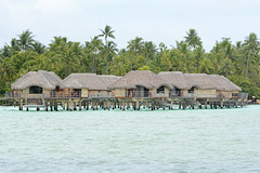 Polynésie Française, Bungalows in the Lagoon of Taha'a Atoll
