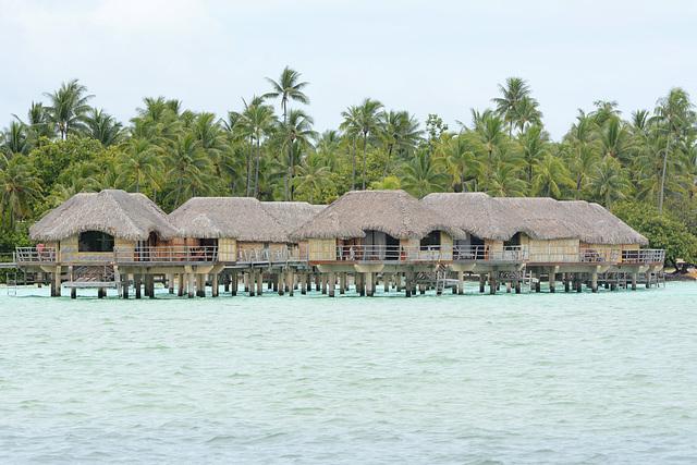 Polynésie Française, Bungalows in the Lagoon of Taha'a Atoll