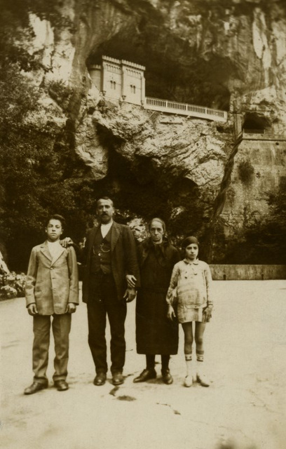 Family at Our Lady of Covadonga Shrine, Covadonga, Spain, 1929