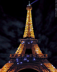 The Eiffel Tower at night from Paris