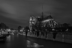 Notre-Dame de Paris Cathedral and the river Seine at night