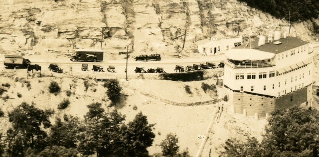 Grand View Ship Hotel: A Steamer in the Allegheny Mountains—Aerial View (Cropped)