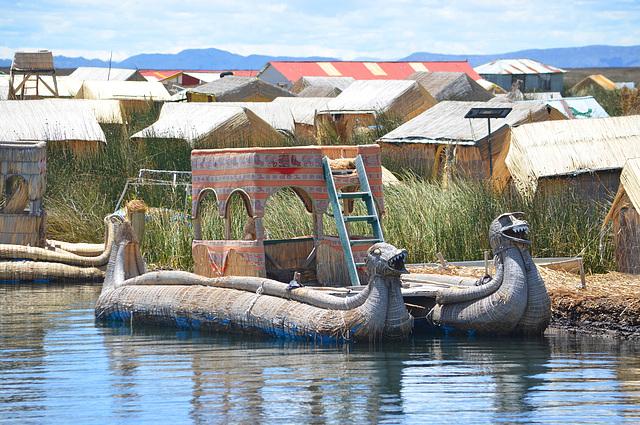 Peru, Uros' Islands, Titicaca Indian National Reed Boat