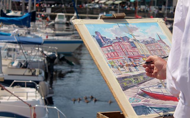 Peintre au port de Honfleur