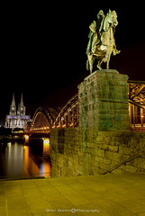 Hohenzollern Bridge with equestrian statue of Wilhelm I