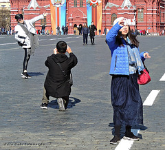 tourists on the Red Square in Moskow