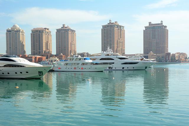 Pearl-Qatar Island in Doha, Boats in the Local Marina