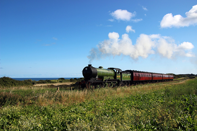 LNER B12 no 8572 heads along the coast  to Weybourne ~ North Norfolk Railway ~ 2nd September 2017