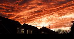 Sky fire across the rooftops