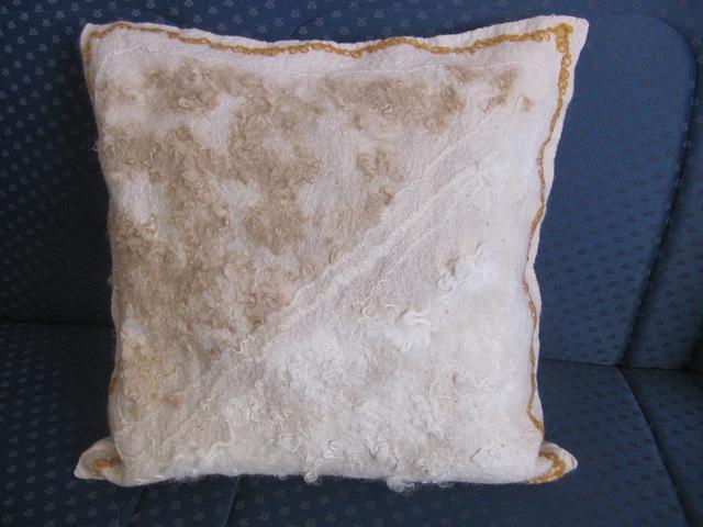 cushion with added alpaca and sheep locks