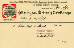 The Type-Writer's Exchange Billhead, Philadelphia, Pa., 1890
