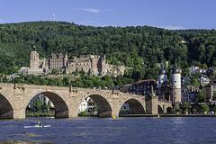 Heidelberg, Blick auf die Alte Brücke und das Schloß