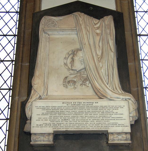 Monument to William Edward Tallents, St Mary Magdalene's Church, Newark, Nottinghamshire