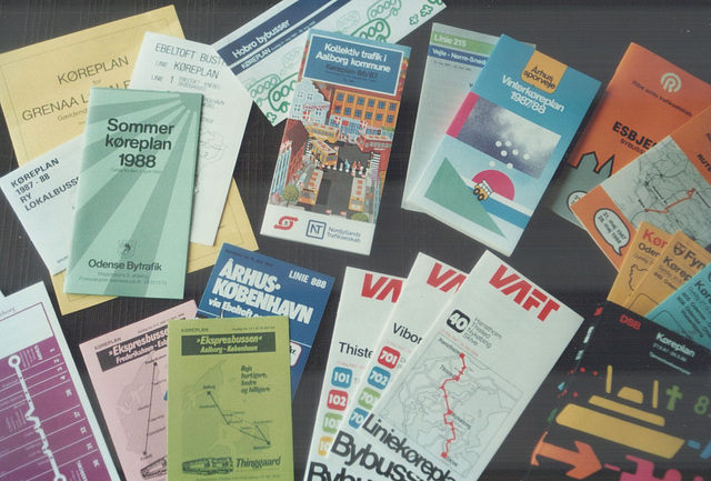 A selection of Danish bus timetables (1988) (Ref: 64-20)