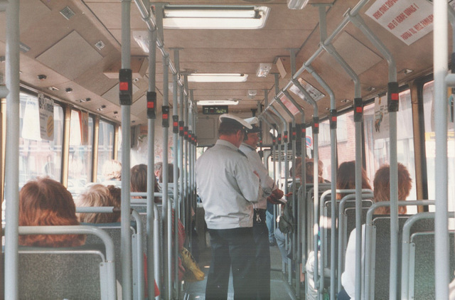 Århus (Aarhus) Sporveje ticket inspectors on board bus 099 (HB 88 745) - 26 May 1988 (Ref: 67-12)