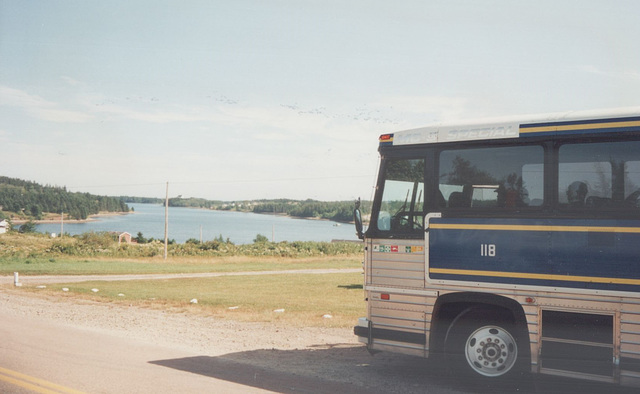 Acadian Lines 118 at River Bourgeois , Nova Scotia - 7 Sep 1992 (Ref 174-15)