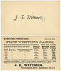 J. E. Wittmer, Visiting Cards Price List, Washington Boro, Pa., May 10, 1876