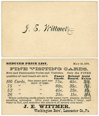 J. E. Wittmer, Visiting Cards Price List, Washington Boro, Pa., May 10, 1876