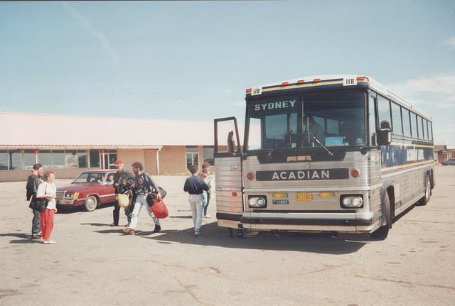Acadian Lines 118 at Port Hawkesbury, Nova Scotia - 7 Sep 1992 (Ref 174-13)