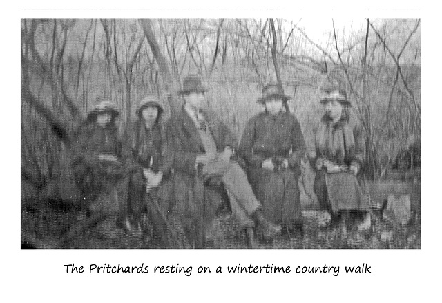 Pritchards on a country walk - winter c1913