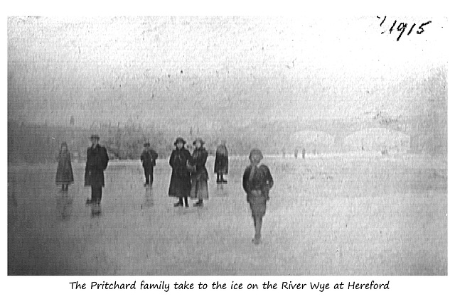 Pritchards on the frozen Wye at Hereford c1915