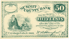 Fifty-Cent Bank Note, Summit County Bank, Cuyahoga Falls, Ohio, 1862
