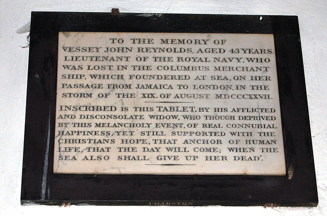 Memorial to Lieutenant Vessey John Reynolds, St Mary Magdalene's Church, Newark, Nottinghamshire