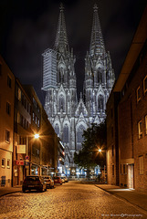 View of the West facade of Cologne Cathedral, Germany at night
