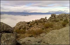 La Sierra de La Cabrera on a foggy day