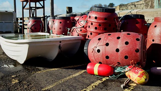 Live Pots, Buoys, and a Boat Full of Water - Nikon F4 - AF Nikkor 28-105mm - Pro 160S