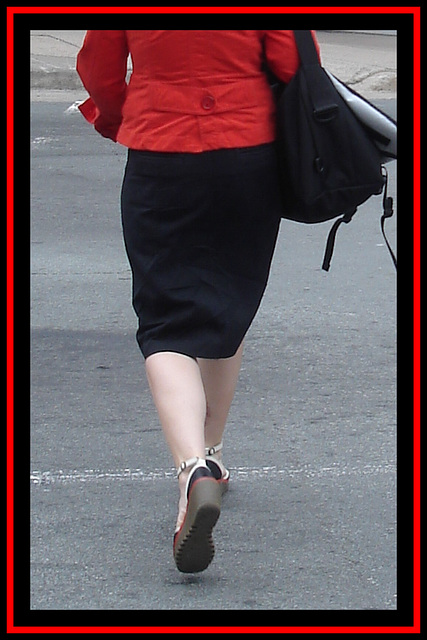 Lady in red on place